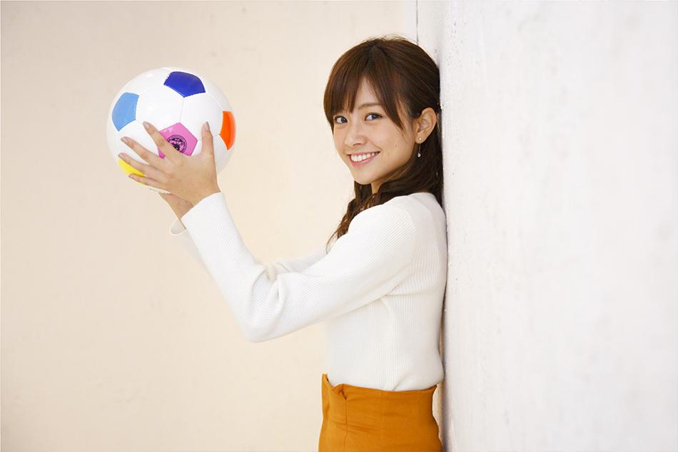 サッカーボールと中川絵美里